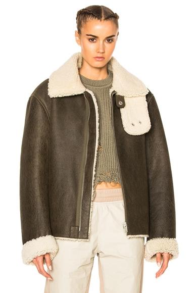 YEEZY Season 3 2 Tone Lamb Shearling Coat in Military Dark