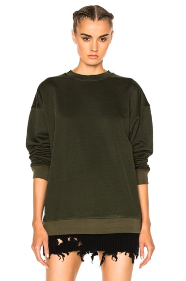 YEEZY Season 3 Plaited Jersey Crewneck Sweatshirt in Onyx Dust