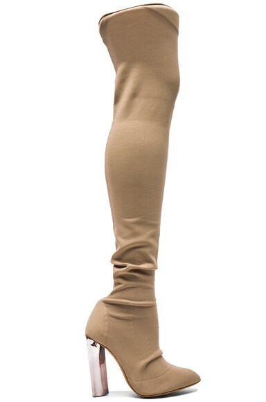 YEEZY Season 3 Sock Knit Tall Boots in Desert Light