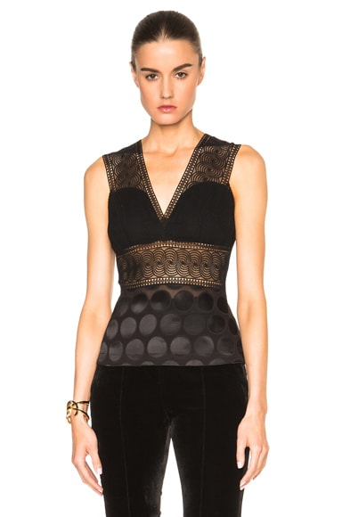 Yigal Azrouel Plunging Lace Front Top in Jet