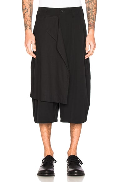 Yohji Yamamoto Drop Cloth Gabardine Shorts in Black