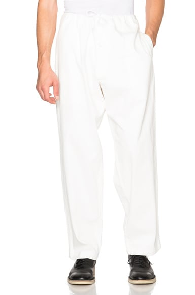 Yohji Yamamoto Regular String Denim Pants in White