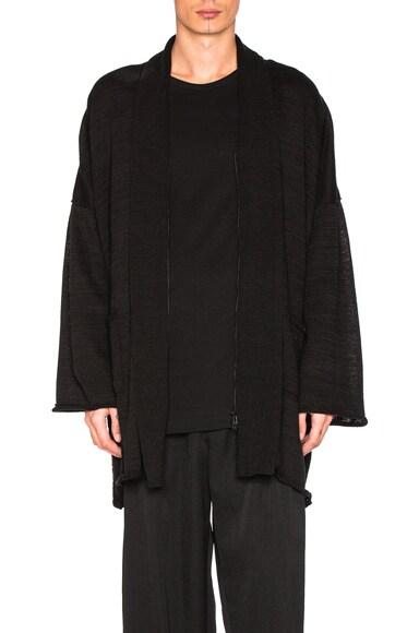 Yohji Yamamoto Big Zip Cardigan in Black