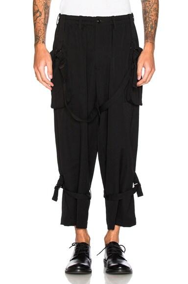 Yohji Yamamoto Belted Trousers in Black
