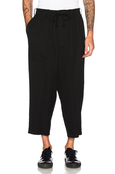 Yohji Yamamoto Wide Gabardine Trousers in Black