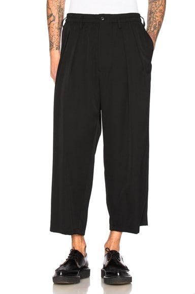 Yohji Yamamoto Tuck Waist Elastic Trousers in Black