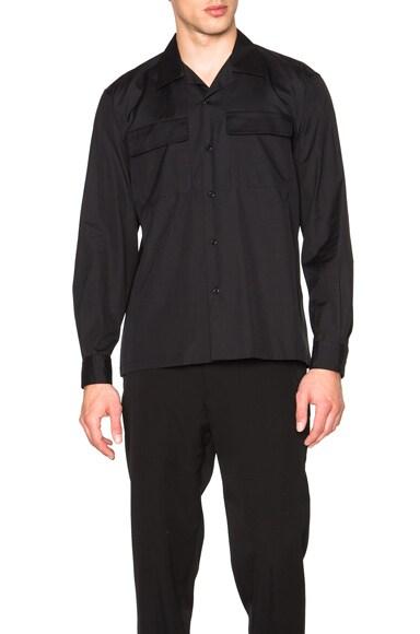 Yohji Yamamoto CDH Open Collar Shirt in Black