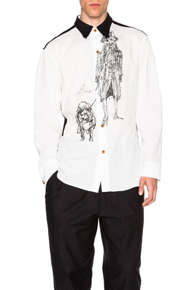 Yohji Yamamoto Triple Collar Printed Button Down in White