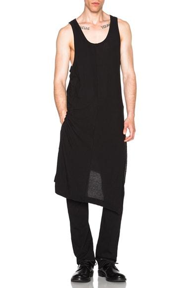 Yohji Yamamoto Supima Silk Asymmetrical Tank in Black