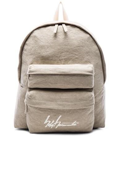 Yohji Yamamoto Washed Linen Backpack in Beige