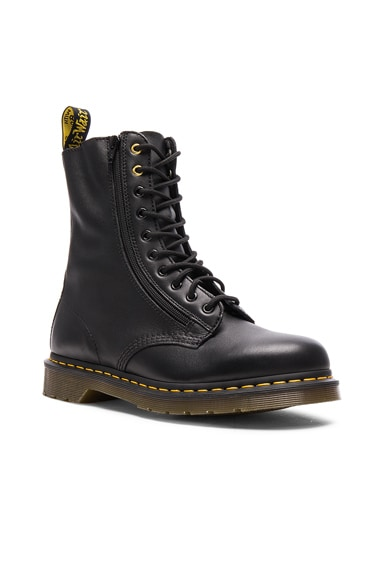 Yohji Yamamoto x Dr. Martens Oiled Leather Zip Boots in Black