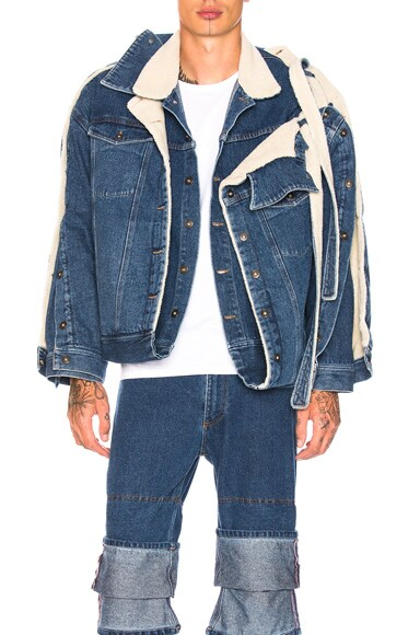 Double Layered Denim Jacket with Sherpa Lining
