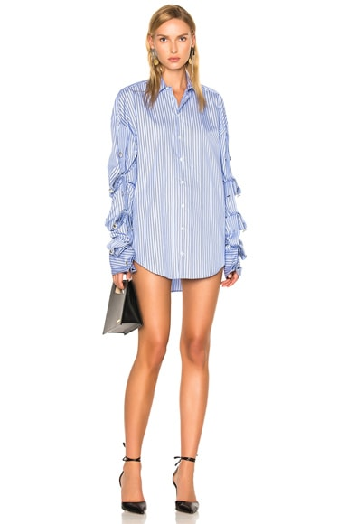 Y Project Button Down Dress in Blue Stripes