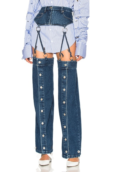 Y Project Detachable Button Down Pants in Washed Blue