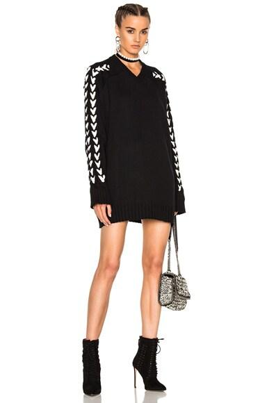 Long Oversized Knitted V Neck Sweater