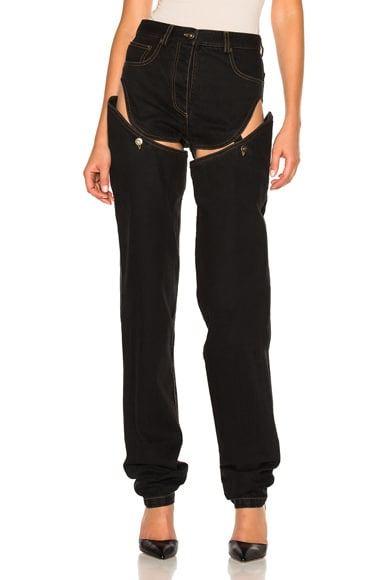 Y Project Straight Leg Trouser with Detachable Short in Washed Black