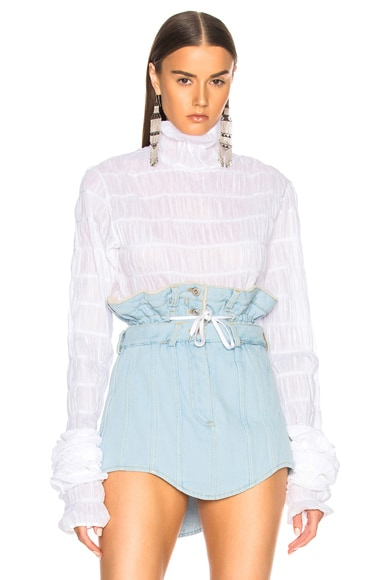 Ruched Turtleneck Extreme Sleeve Top