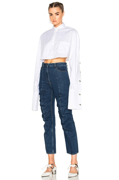 Y Project Cropped Button Down Shirt in White