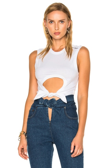Y Project Cropper Sleeveless Tee in White