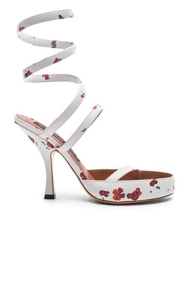 Floral Leather Spiral Sandals