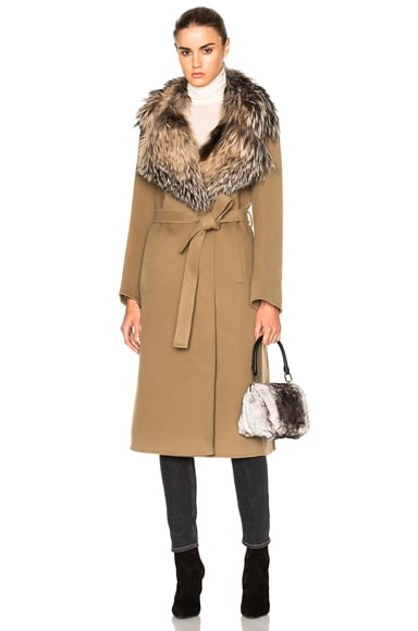 Fox Fur Collar Cashmere Coat
