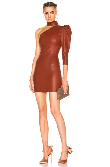 One Shoulder Stretch Leather Dress Zeynep Arcay