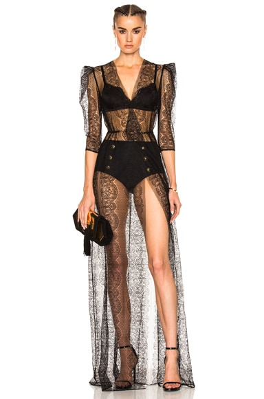 Wrap Lace Gown