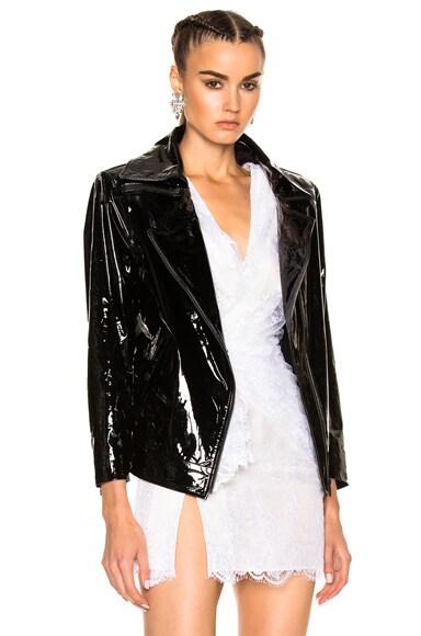 Patent Leather Oversized Biker Jacket Zeynep Arcay
