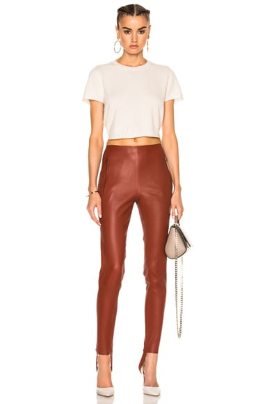 Stretch Leather Stirrup Pants
