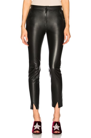 Coated Leather Pants with Ankle Slits