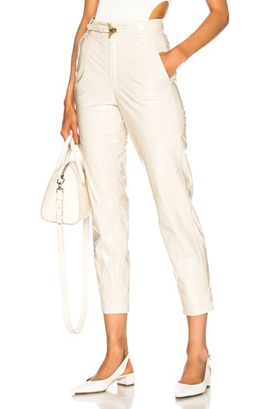 Belted Patent Leather Pants