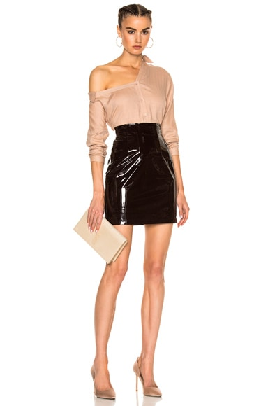 High Waisted Leather Mini Skirt