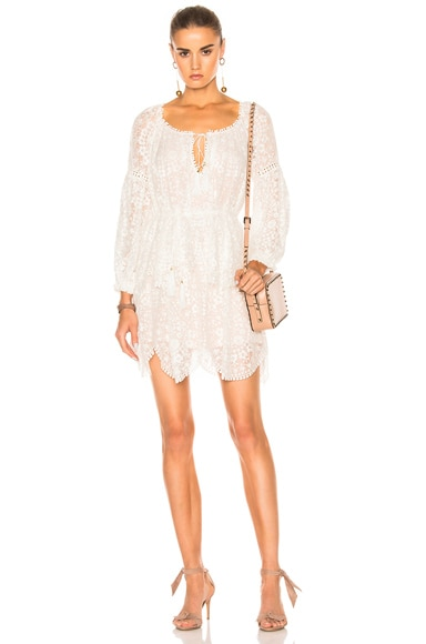 Zimmermann Gossamer Scallop Mini Dress in Ivory