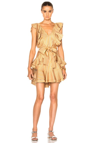Zimmermann Winsome Flounce Dress in Amber & Nude