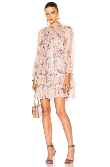 Zimmermann Winsome Sphere Dress in Mink Sunbleach Floral