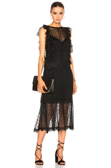 Zimmermann Oleander Lattice Back Dress in Noir