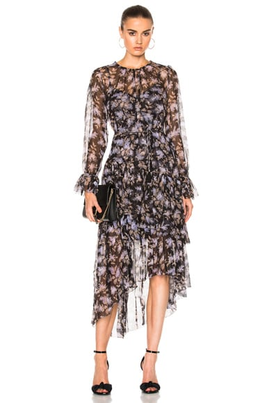 Zimmermann Stranded Tier Dress in Black Lavender Floral