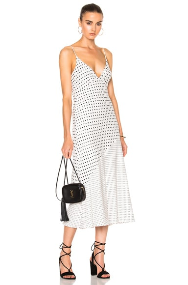 Zimmermann Stranded Tuck Slip Dress in Pearl Dot