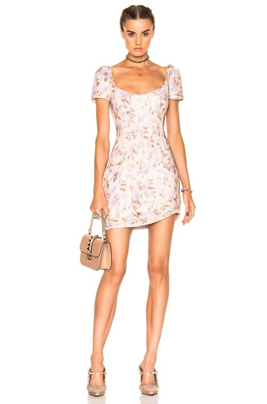 Zimmermann Stranded Corset Dress in Lavender Floral