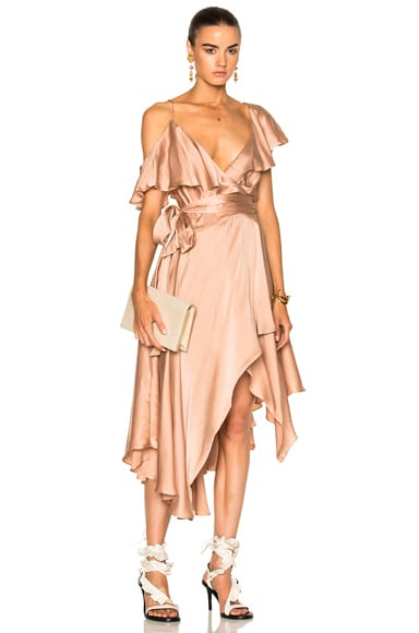 Zimmermann Sueded Asymmetric Wrap Dress in Nude