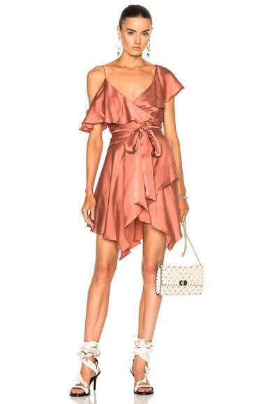 Sueded Asymmetric Wrap Mini Dress