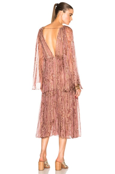 Zimmermann Realm Gather Dress in Pink Paisley
