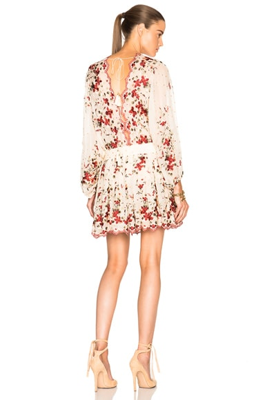 Zimmermann Sakura Embroidery Dress in Nude Floral