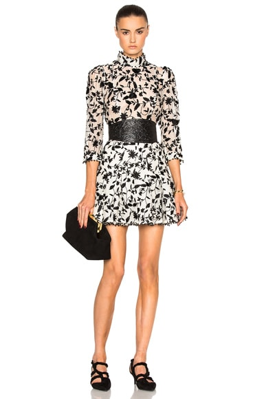 Zimmermann Master Embroidered Tuck Dress in Black & Natural