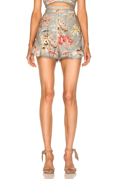 Zimmermann Mercer Flutter Frill Short in Blue Floral
