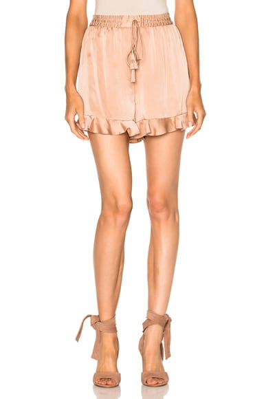 Zimmermann Sueded Flutter Short in Nude