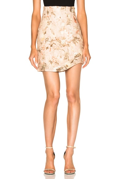 Zimmermann Bowerbird Corselet Skirt in Apricot Floral