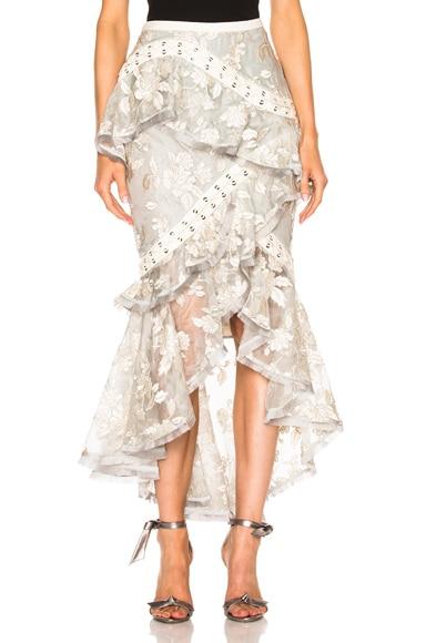 Zimmermann Stranded Embroidery Skirt in Ash