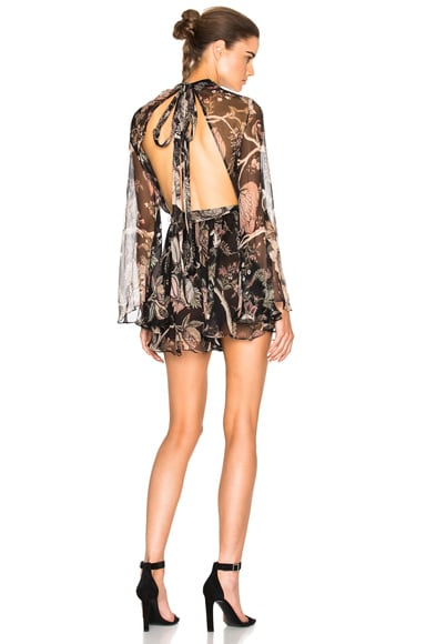 Zimmermann Lavish Flare Sleeve Romper in Indienne Floral