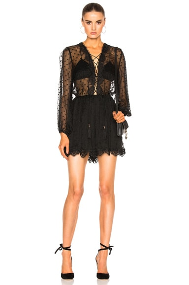 Zimmermann Oleander Lattice Romper in Noir